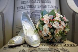 Driftwood Flowers - wedding shoes & bridal bouquet
