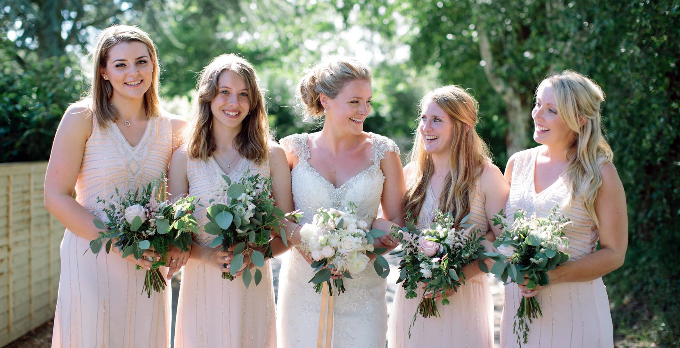 Cream & White Bridesmaids Bouquets from Driftwood Flowers, Chichester, West Sussex