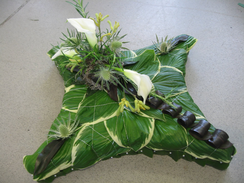 Funeral-Hosta-leaf-and-Lily tribute