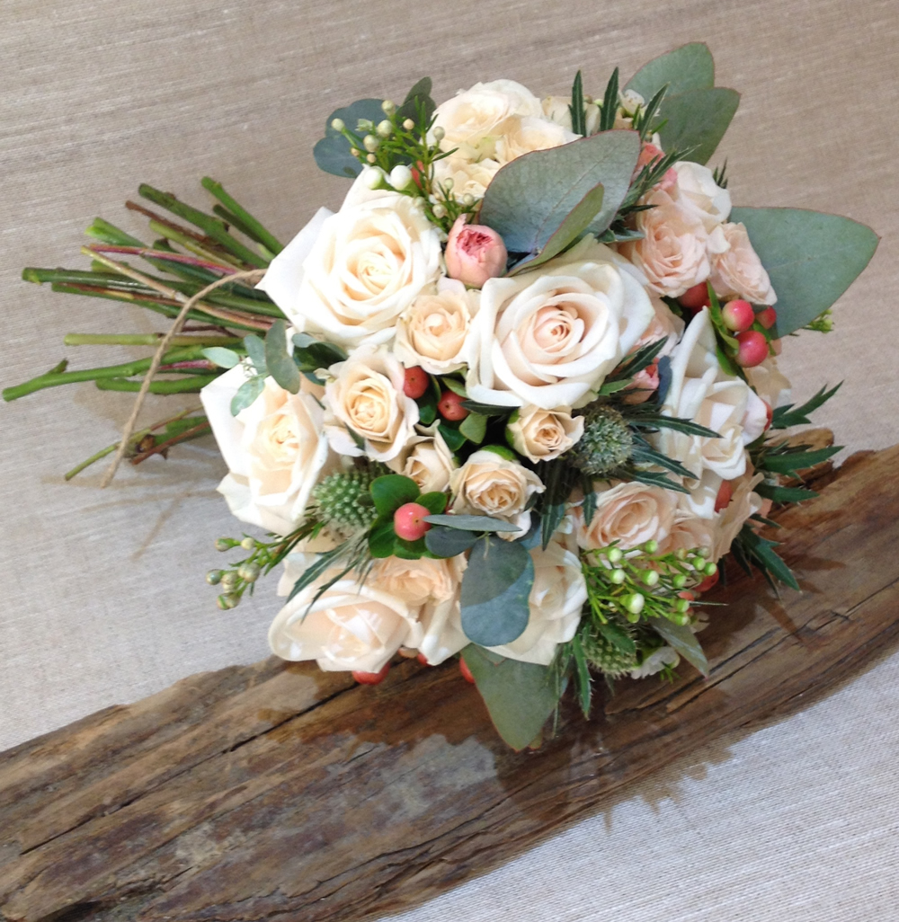 Wedding flowers - rose and eucolyptus bouquet