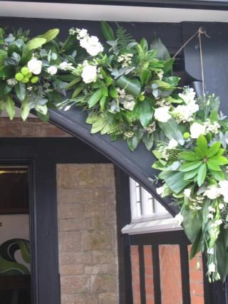 Wedding flowers - church floral decoration