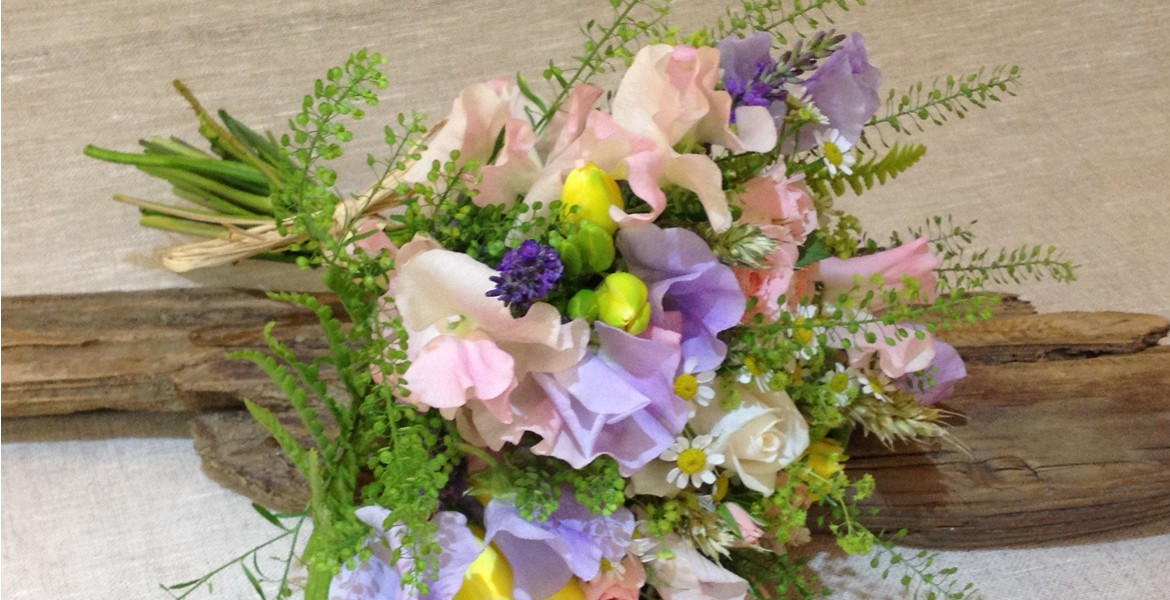 Driftwood flowers sweet pea bridal spray