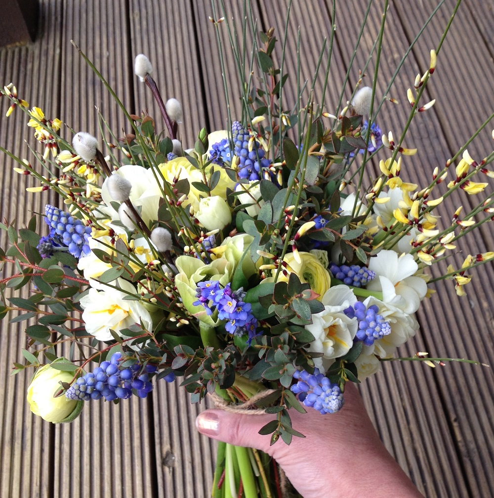 Cream and blue spring bouquet - Driftwood Flowers