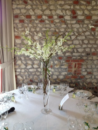 Tall white floral table display