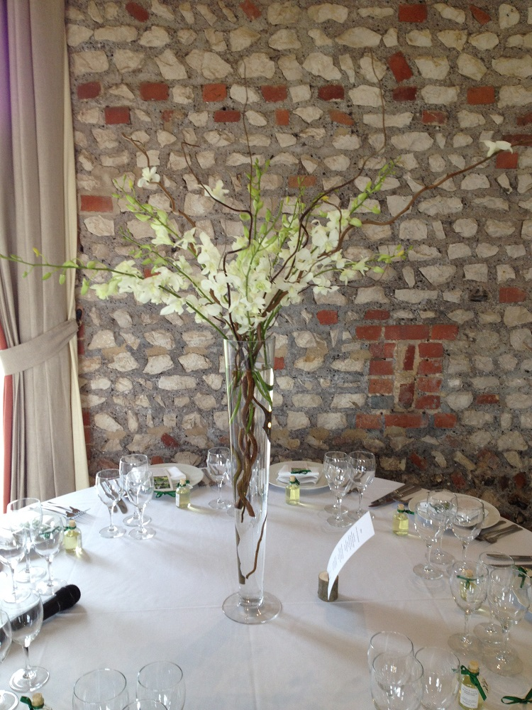 Tall White Floral Table Display Driftwood Flowers