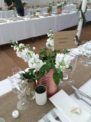 Wedding flowers from Driftwood Flowers, Lavant, Chichester - Wedding breakfast, natural table floral displays