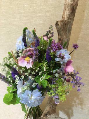 Wedding flowers from Driftwood Flowers, Lavant, Chichester - Pink, blue & mauve bridal bouquet