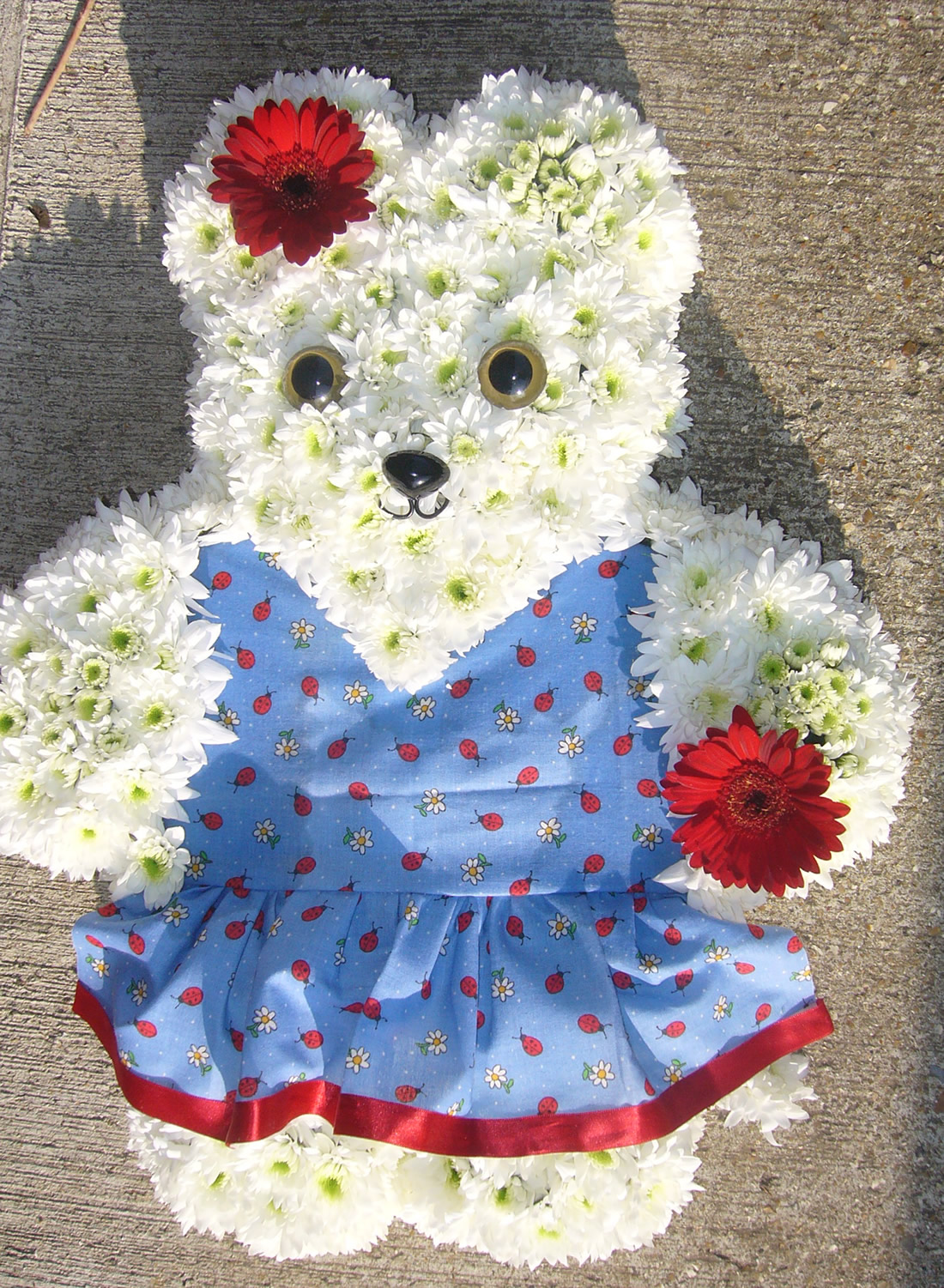 Driftwood Flowers - Teddy floral funeral tribute