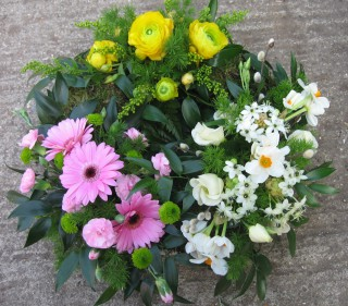 Evergreen floral wreath
