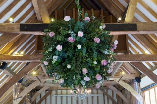 Wedding Reception - large suspended flower ball
