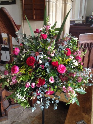 Driftwood Flowers - church wedding floral display