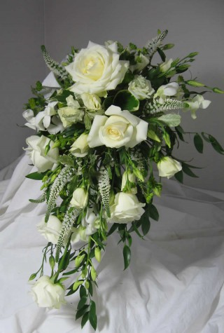 White Rose Bridal Spray Bouquet
