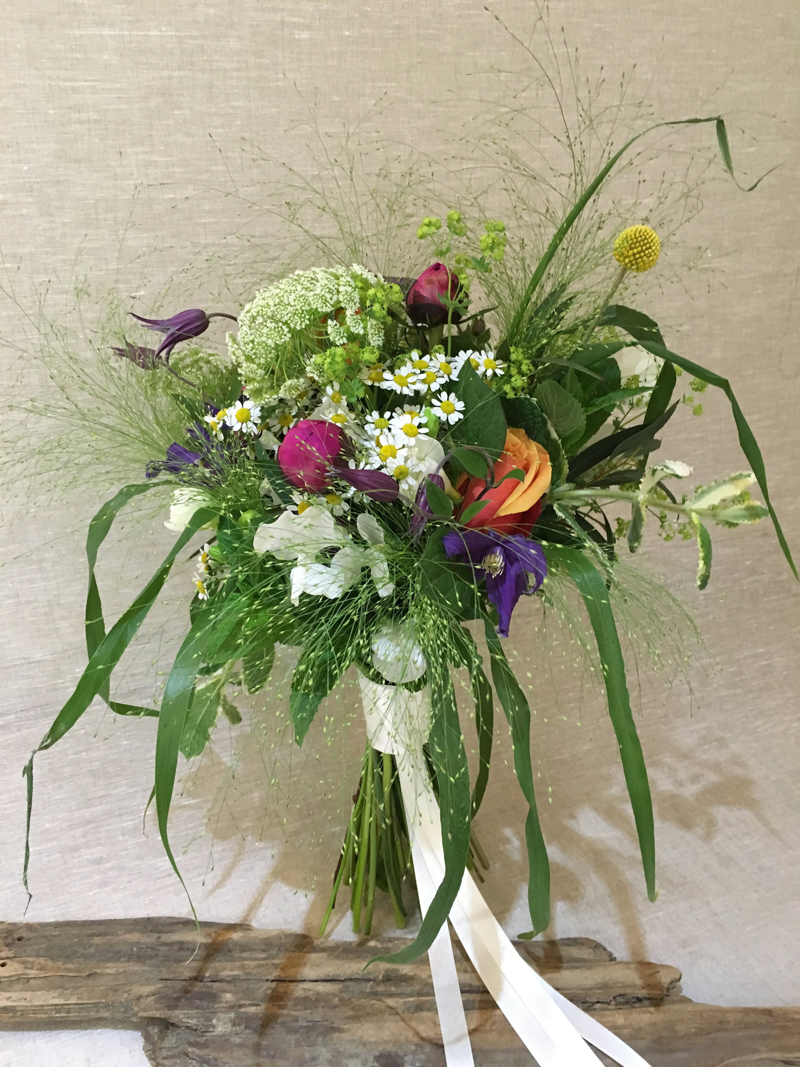 Wild fLower country style wedding bouquet by Driftwood Flowers Chichester