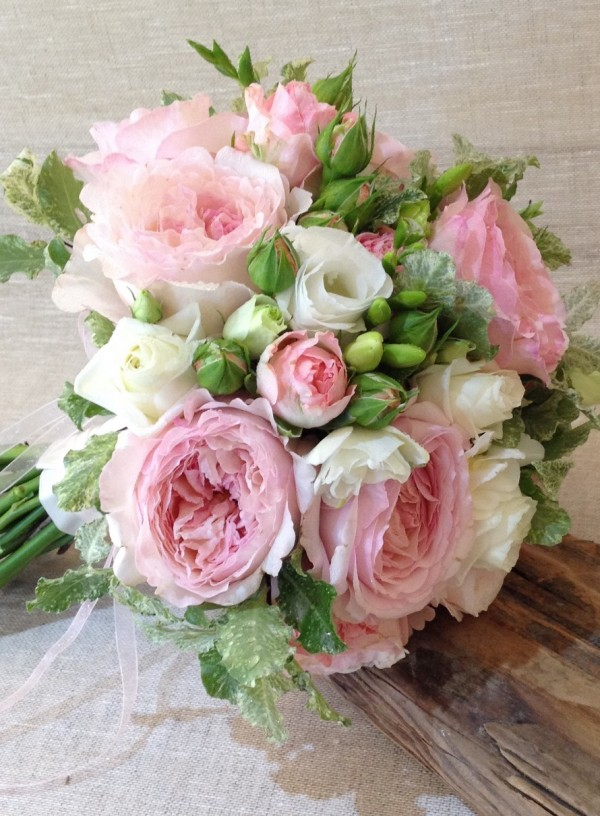 Old fashioned pink rose wedding bouquet - Driftwood Flowers