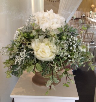 Silver & white floral pedestal display
