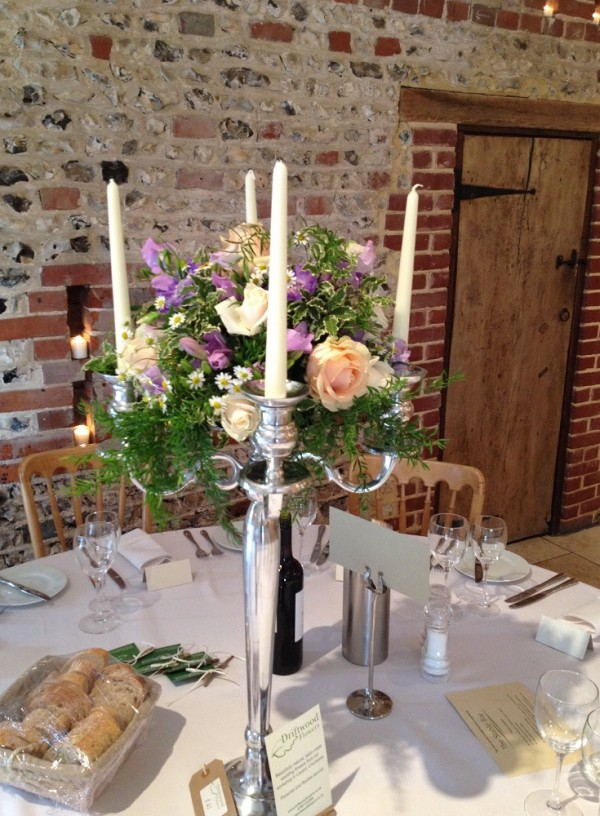 Tall candilabra floral table display