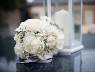 Simple white bridal flower ball bouquet