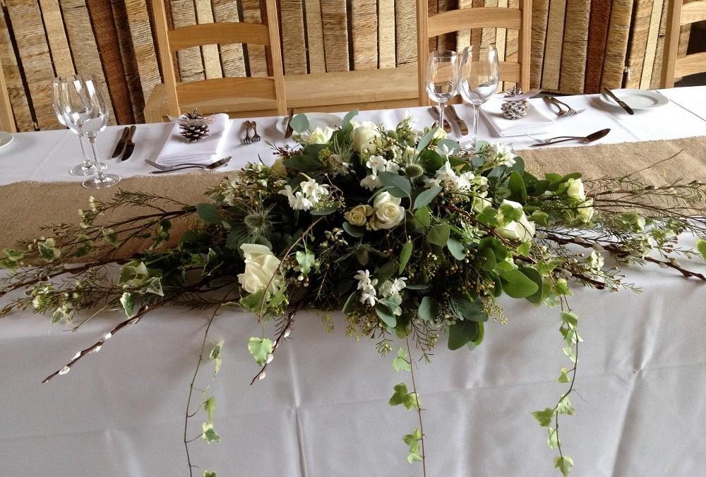 White flower spray table display - Driftwood Flowers