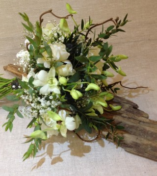 Simple white and green bridal bouquet from Driftwood Flowers