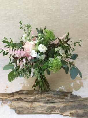 Wedding flowers from Driftwood Flowers, Lavant, Chichester - pale pink and white bride's bouquet