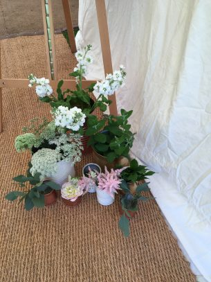 Wedding flowers from Driftwood Flowers, Lavant, Chichester - Wedding breakfast table floral displays