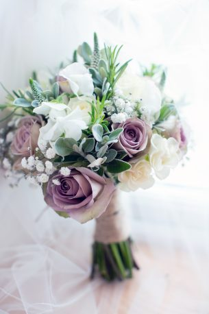 Mauve & White Rose Bridal Bouquet