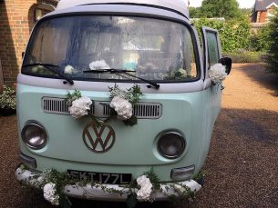 Wedding car decoration from Driftwood Wedding Flowers, Chichester