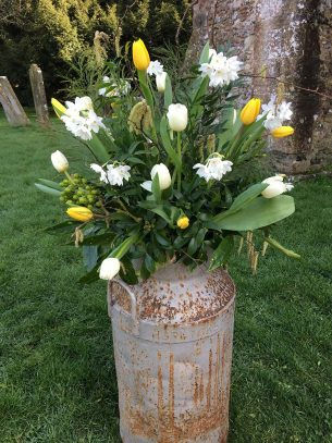 Church floral decoration from Driftwood Wedding Flowers, Chichester