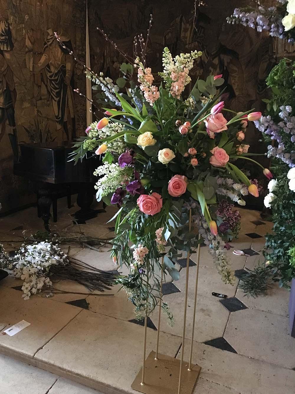 Church Floral Pedestal Display Driftwood Flowers
