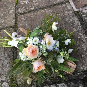 peach & white hand tied bridal bouquet from Driftwood Flowers Chichester