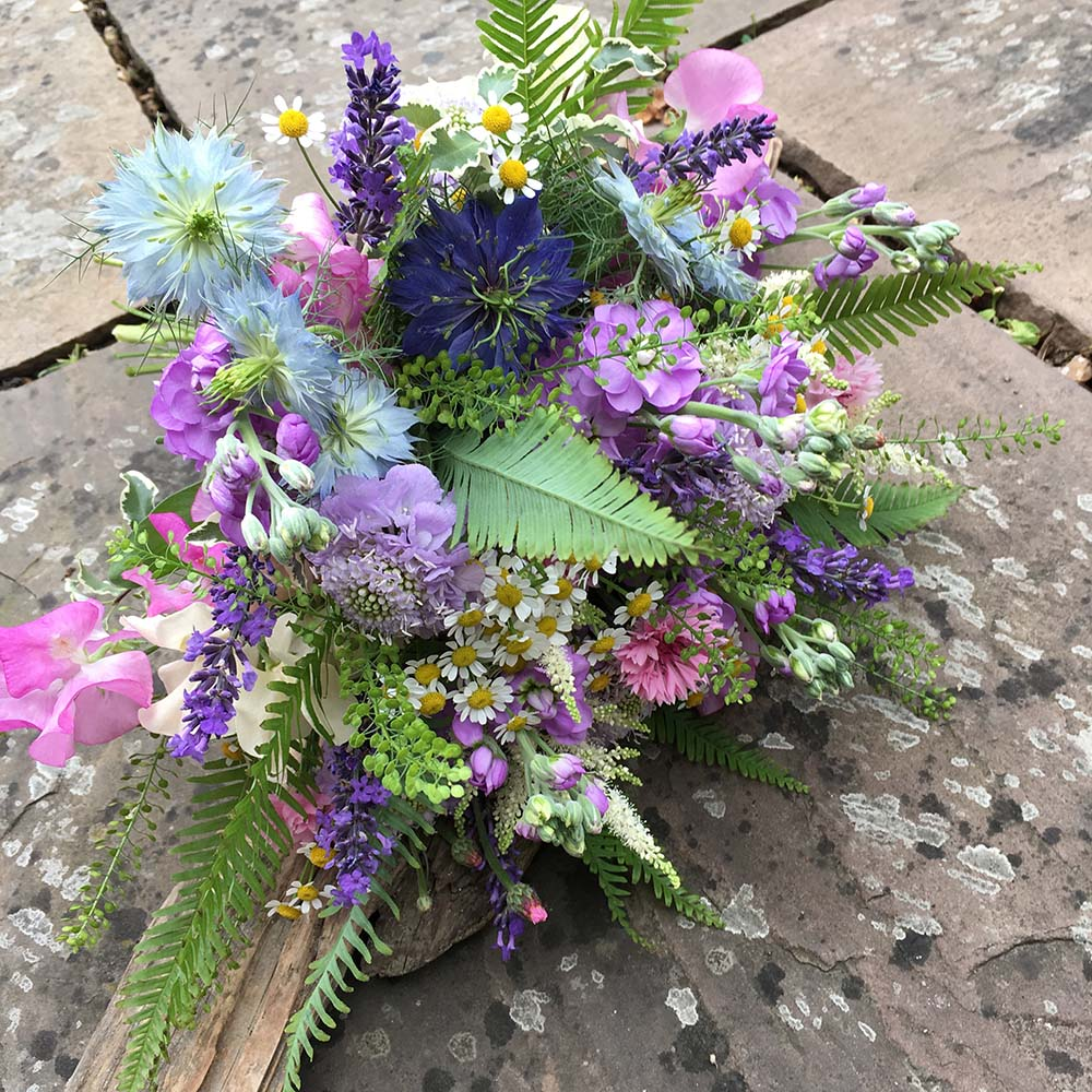 Pink & blue floral decoration from Driftwood Wedding Flowers, Chichester