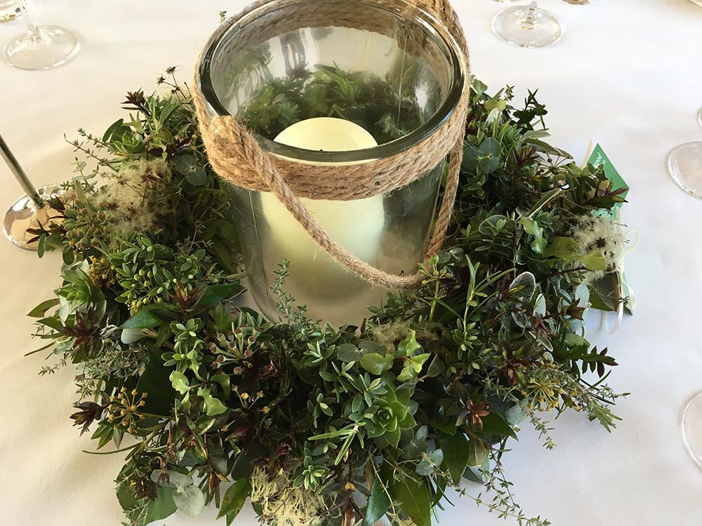 Wedding reception candle table centrepiece from Driftwood Wedding Flowers, Chichester
