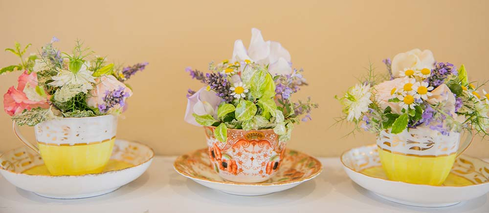 Rustic wedding flowers tea cups - Driftwood Wedding Flowers near Chichester