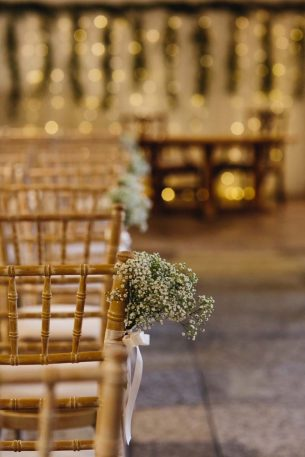 Wedding ceremony seat decorations from Driftwood Flowers, Chichester