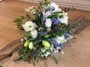 White & Blue Spring Bridal Bouquet