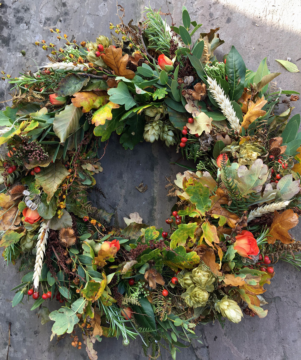Autumn funeral wreath - funeral flowers from Driftwood FLowers Lavant near Chichester