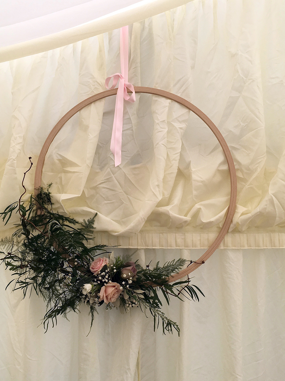 Wedding Marquee floral Wall decoration - Driftwood Flowers Chichester