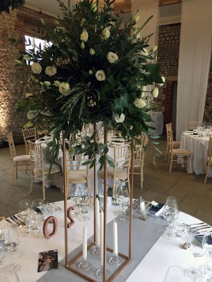 Tall Reception Table Floral Display - Driftwood Flowers Chichester